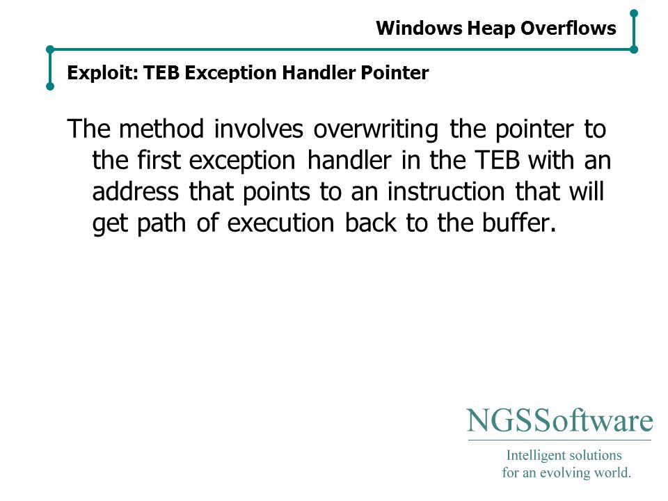 Windows Heap Overflows Exploit: TEB Exception Handler Pointer The method involves overwriting the pointer to the first exception handler in the TEB with an address that points to an instruction that will get path of execution back to the buffer.