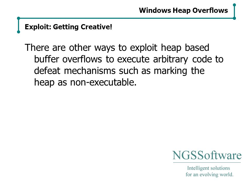 Windows Heap Overflows Exploit: Getting Creative.