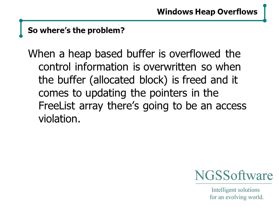 Windows Heap Overflows So where's the problem.