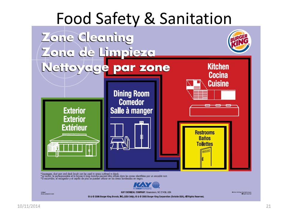 Food Safety & Sanitation 10/11/201421