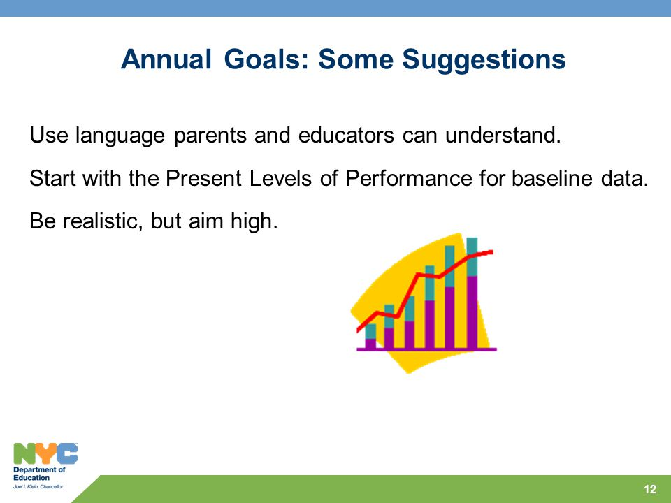 12 Annual Goals: Some Suggestions Use language parents and educators can understand. Start with the Present Levels of Performance for baseline data. B