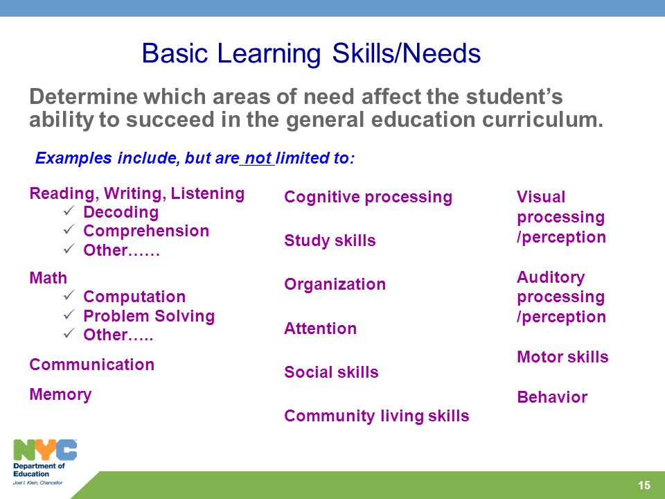 15 Basic Learning Skills/Needs Reading, Writing, Listening Decoding Comprehension Other…… Math Computation Problem Solving Other….. Communication Memo