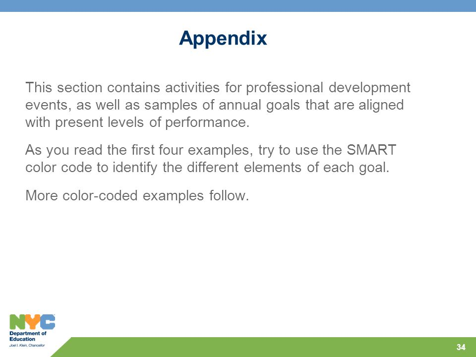 34 Appendix This section contains activities for professional development events, as well as samples of annual goals that are aligned with present lev
