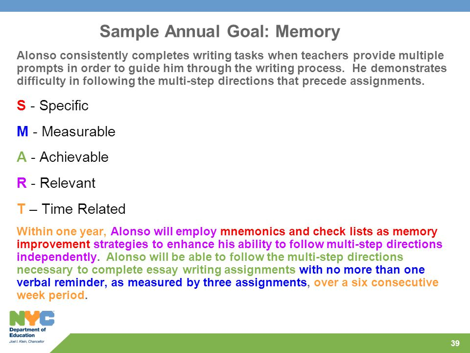 39 Sample Annual Goal: Memory Alonso consistently completes writing tasks when teachers provide multiple prompts in order to guide him through the wri