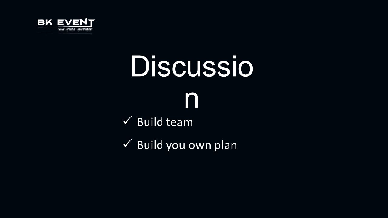 Discussio n Build team Build you own plan