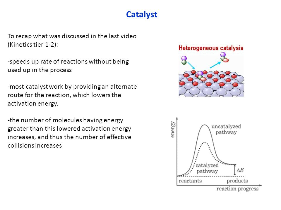 Catalyst To recap what was discussed in the last video (Kinetics tier 1-2): -speeds up rate of reactions without being used up in the process -most ca