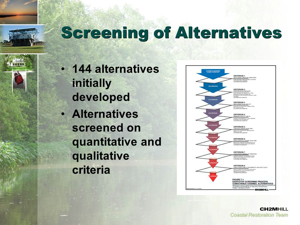 Coastal Restoration Team Screening of Alternatives 144 alternatives initially developed Alternatives screened on quantitative and qualitative criteria