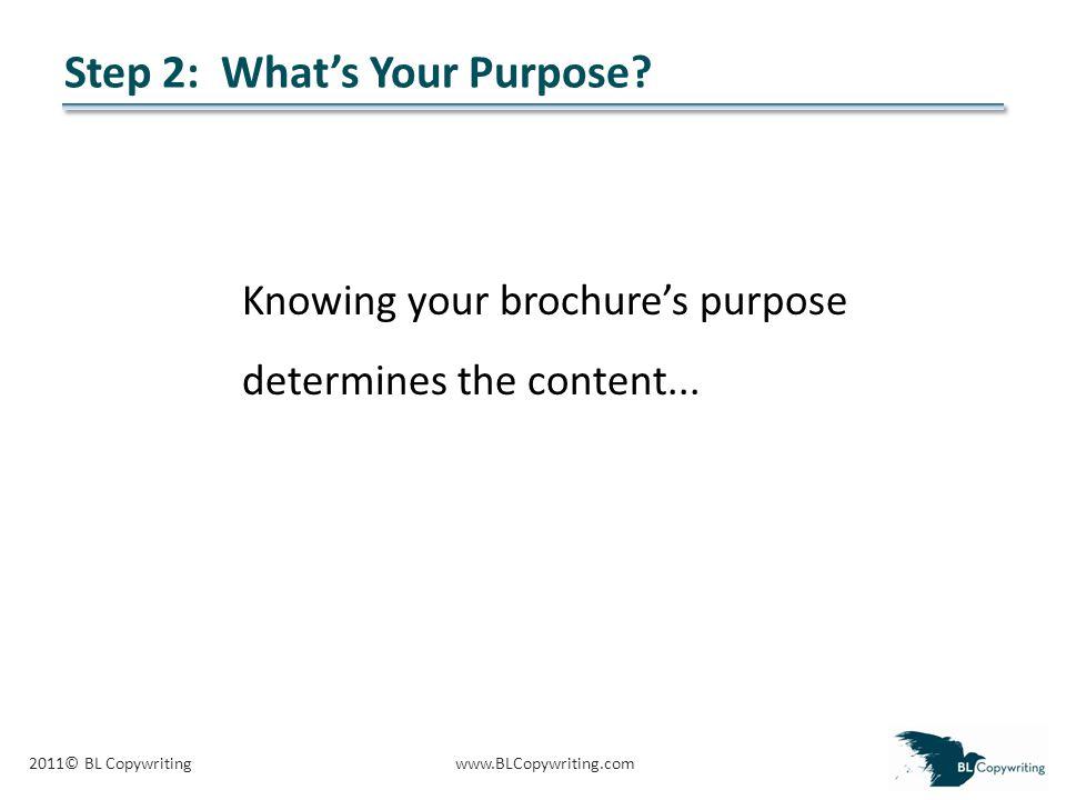 2011© BL Copywritingwww.BLCopywriting.com Step 2: What's Your Purpose.