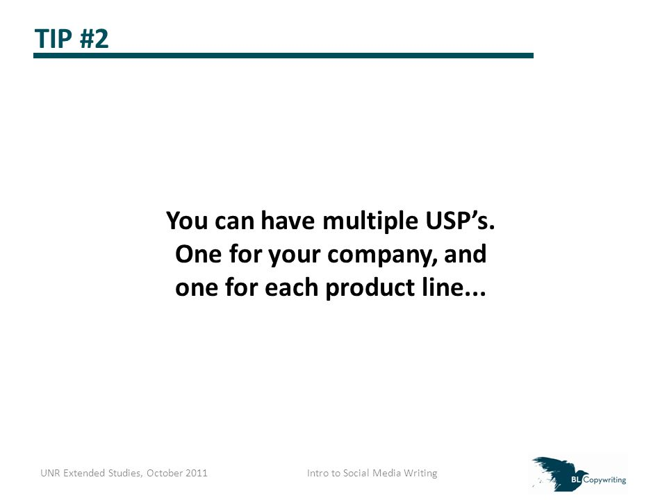 TIP #2 You can have multiple USP's. One for your company, and one for each product line...