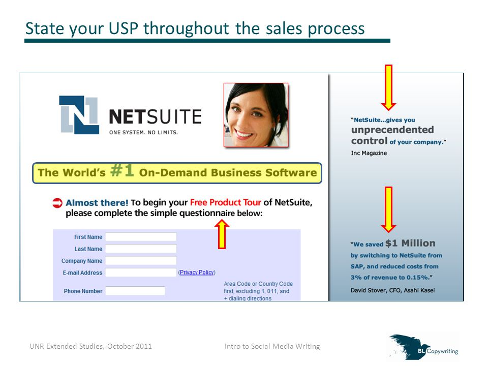 State your USP throughout the sales process UNR Extended Studies, October 2011Intro to Social Media Writing
