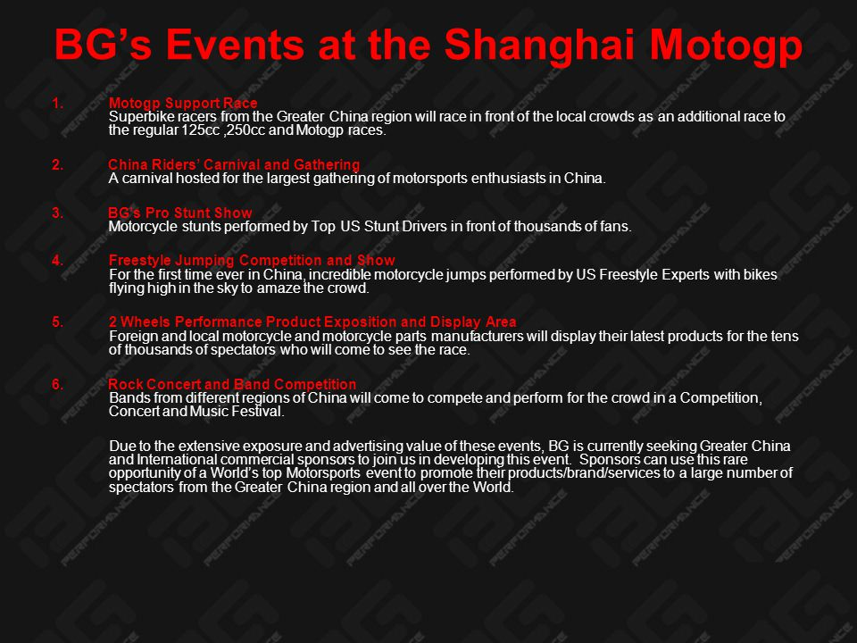 Site Map of SIC Motogp Carnival Location : Waterview Square Shanghai International Circuit has allotted a larger space for BG's events for 2008.
