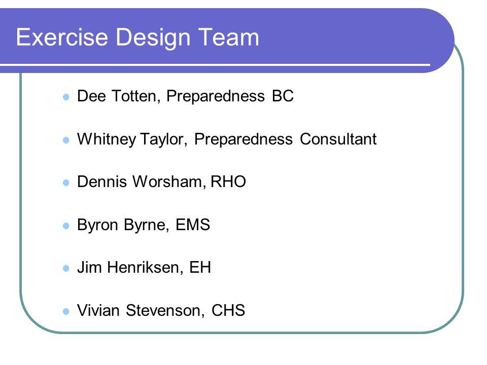 Exercise Design Team Dee Totten, Preparedness BC Whitney Taylor, Preparedness Consultant Dennis Worsham, RHO Byron Byrne, EMS Jim Henriksen, EH Vivian