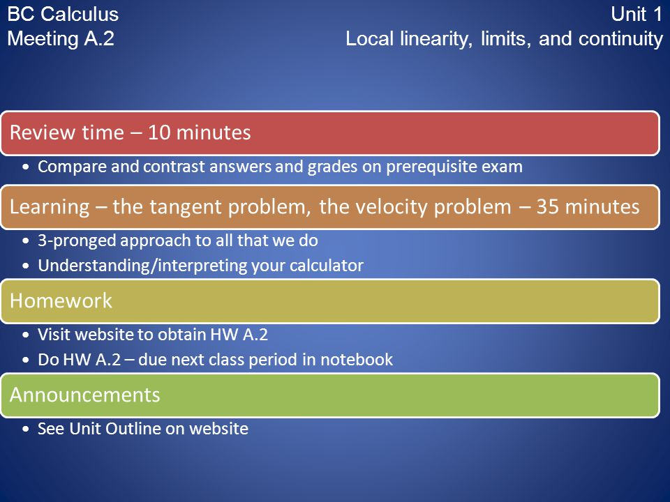 BC CalculusUnit 1 Meeting A.2 Local linearity, limits, and continuity Review time – 10 minutes Compare and contrast answers and grades on prerequisite exam Learning – the tangent problem, the velocity problem – 35 minutes 3-pronged approach to all that we do Understanding/interpreting your calculator Homework Visit website to obtain HW A.2 Do HW A.2 – due next class period in notebook Announcements See Unit Outline on website