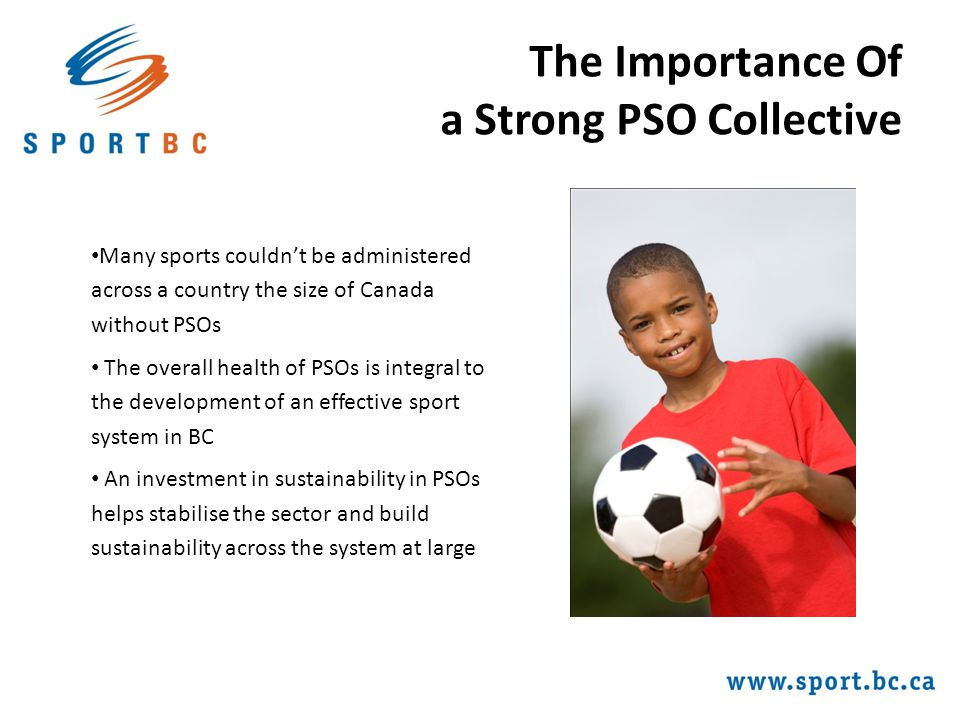 The Importance Of a Strong PSO Collective Many sports couldn't be administered across a country the size of Canada without PSOs The overall health of PSOs is integral to the development of an effective sport system in BC An investment in sustainability in PSOs helps stabilise the sector and build sustainability across the system at large