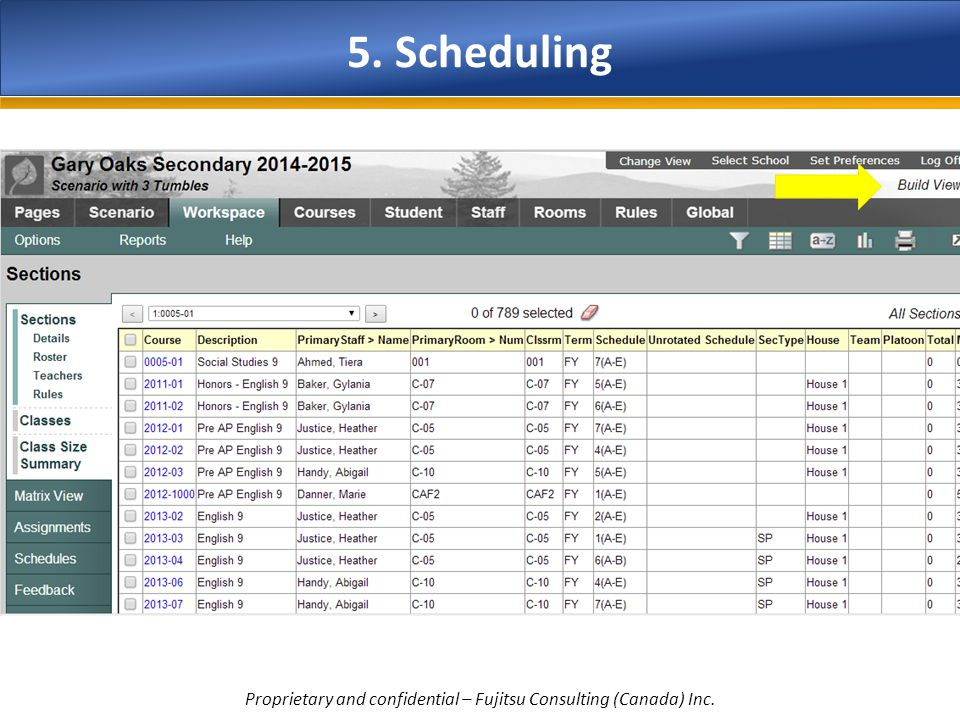 5. Scheduling Proprietary and confidential – Fujitsu Consulting (Canada) Inc.