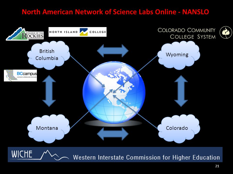 21 North American Network of Science Labs Online - NANSLO British Columbia Colorado Wyoming Montana