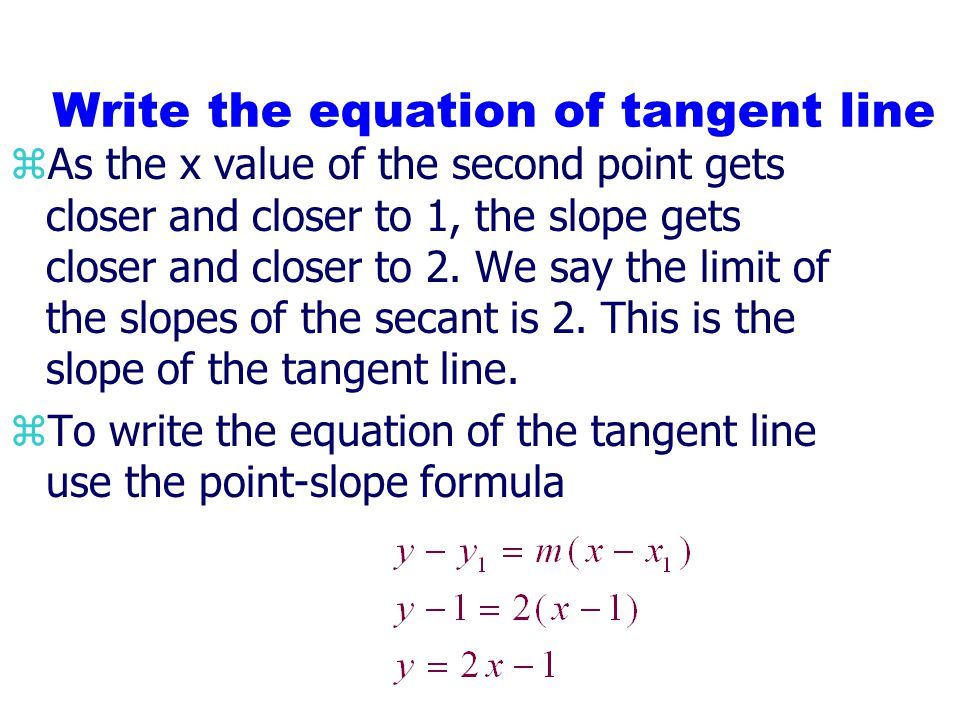 Find slope of tangent line on f(x) =x 2 at the point (1,1) xf(x)Slope of secant between (1,1) and (x, f(x)) 001.5.251.5.9.811.9.99.98011.99.999.998001