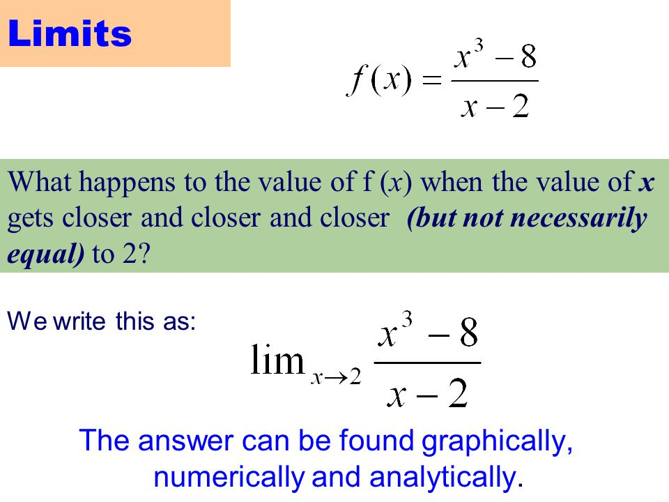 To understand the instantaneous rate of change (slope) problem and the area problem, you will need to learn about limits 2.2