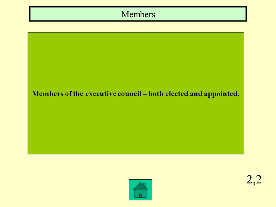 2,2 Members of the executive council – both elected and appointed. Members