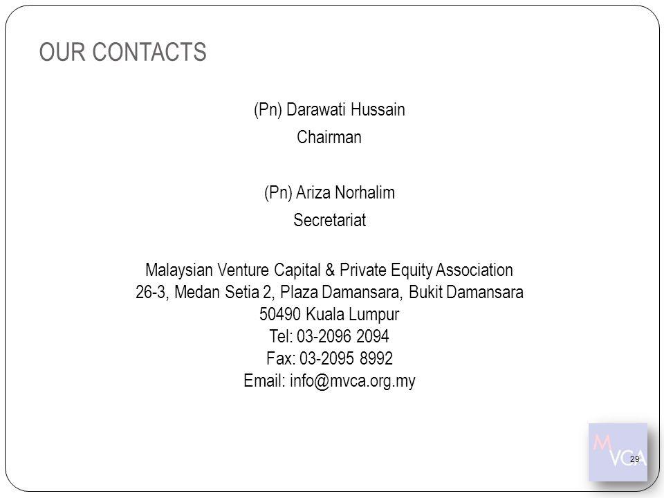 (Pn) Darawati Hussain Chairman (Pn) Ariza Norhalim Secretariat Malaysian Venture Capital & Private Equity Association 26-3, Medan Setia 2, Plaza Daman