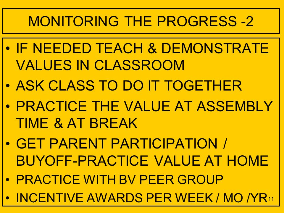 MONITORING THE PROGRESS -2 IF NEEDED TEACH & DEMONSTRATE VALUES IN CLASSROOM ASK CLASS TO DO IT TOGETHER PRACTICE THE VALUE AT ASSEMBLY TIME & AT BREAK GET PARENT PARTICIPATION / BUYOFF-PRACTICE VALUE AT HOME PRACTICE WITH BV PEER GROUP INCENTIVE AWARDS PER WEEK / MO /YR 11