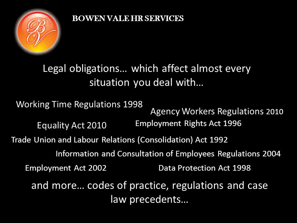 Legal obligations… which affect almost every situation you deal with… Equality Act 2010 Working Time Regulations 1998 Agency Workers Regulations 2010 Employment Rights Act 1996 Trade Union and Labour Relations (Consolidation) Act 1992 Information and Consultation of Employees Regulations 2004 Employment Act 2002Data Protection Act 1998 and more… codes of practice, regulations and case law precedents… BOWEN VALE HR SERVICES