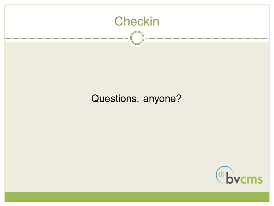 Checkin Questions, anyone?