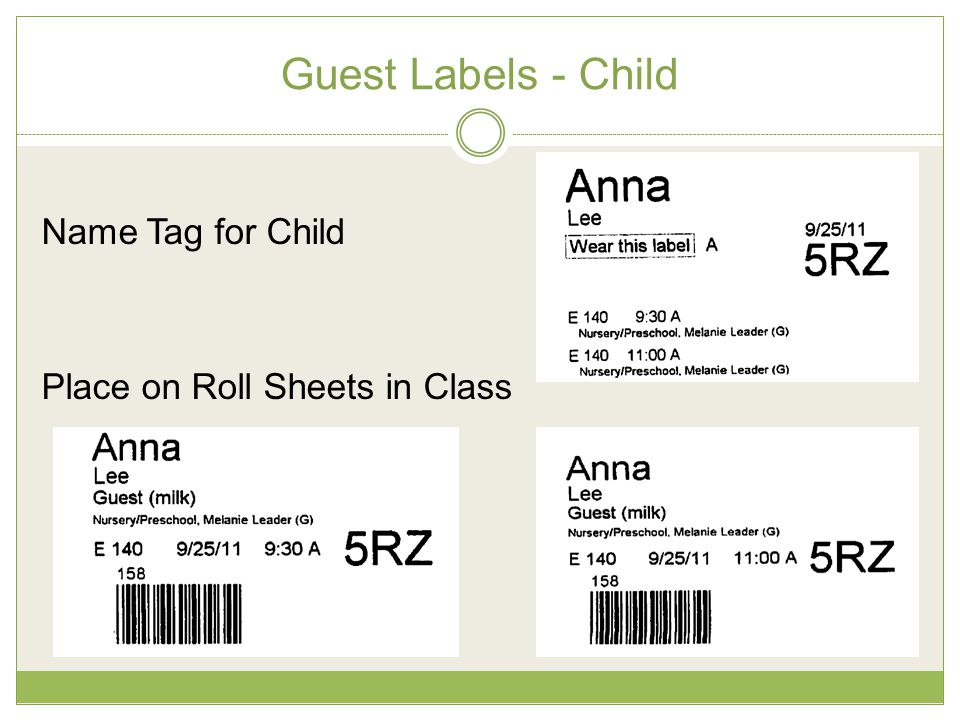 Guest Labels - Child Name Tag for Child Place on Roll Sheets in Class