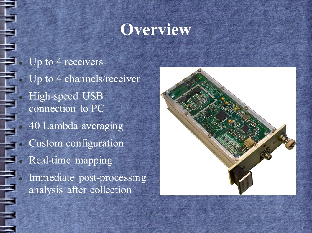 Setup Configure up to 4 channels per receiver (16 total) Save configurations for later use