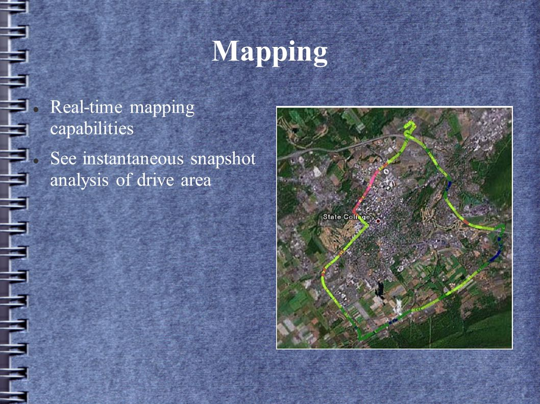 Mapping Real-time mapping capabilities See instantaneous snapshot analysis of drive area