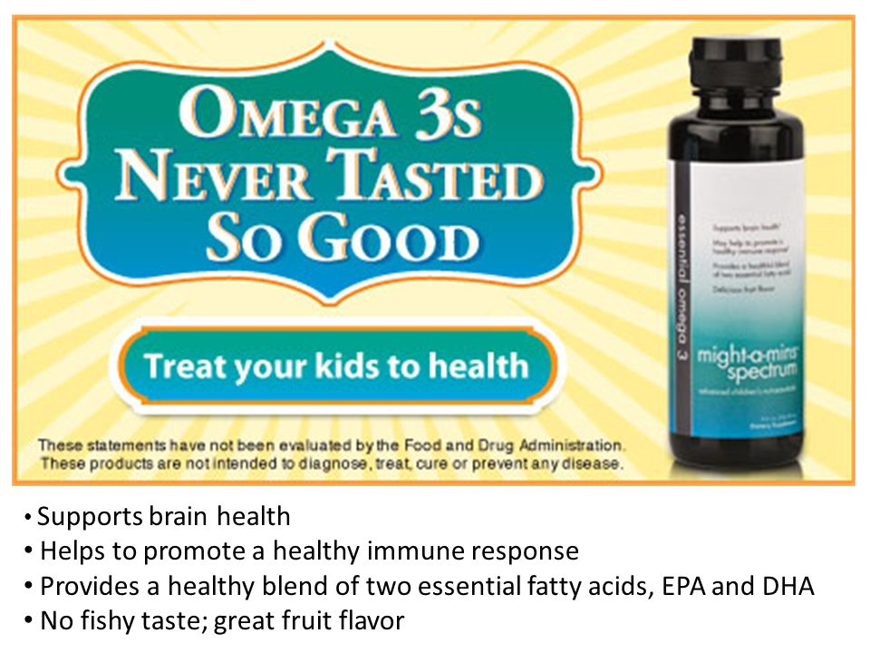 Supports brain health Helps to promote a healthy immune response Provides a healthy blend of two essential fatty acids, EPA and DHA No fishy taste; great fruit flavor