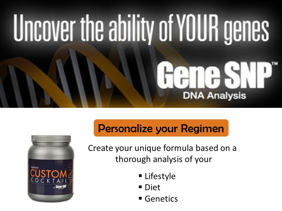 Create your unique formula based on a thorough analysis of your  Lifestyle  Diet  Genetics Personalize your Regimen