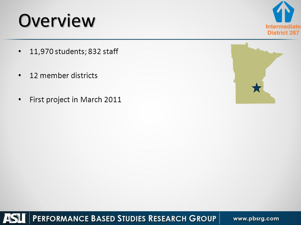 Overview 11,970 students; 832 staff 12 member districts First project in March 2011