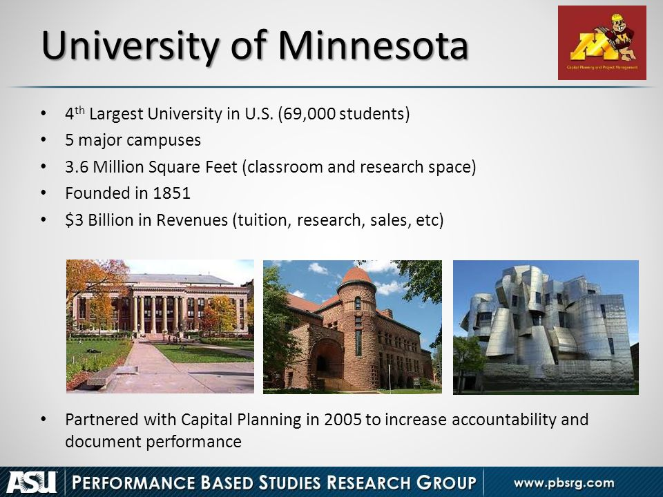 University of Minnesota 4 th Largest University in U.S. (69,000 students) 5 major campuses 3.6 Million Square Feet (classroom and research space) Foun