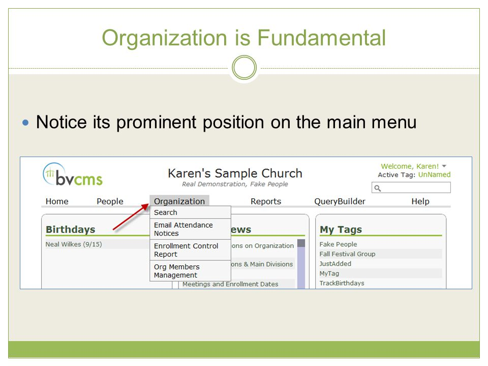 Organization is Fundamental Notice its prominent position on the main menu