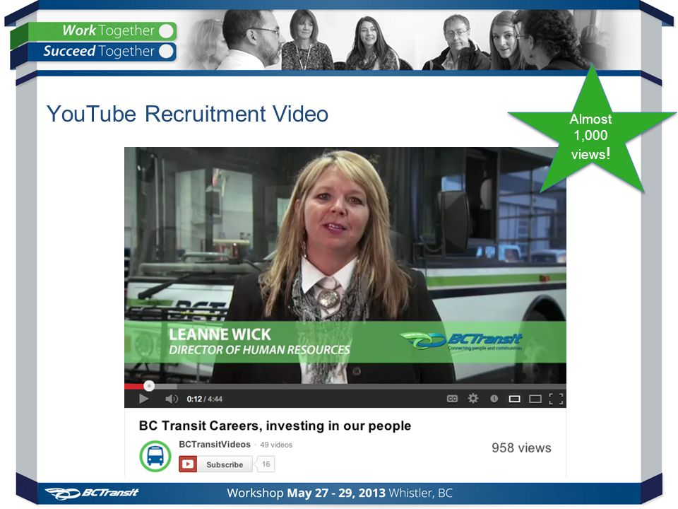YouTube Recruitment Video Almost 1,000 views ! Almost 1,000 views !