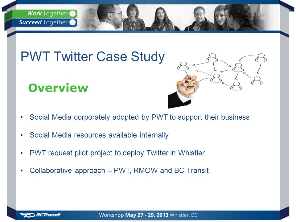 Social Media corporately adopted by PWT to support their business Social Media resources available internally PWT request pilot project to deploy Twitter in Whistler Collaborative approach – PWT, RMOW and BC Transit Overview