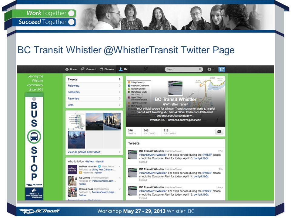 BC Transit Whistler @WhistlerTransit Twitter Page