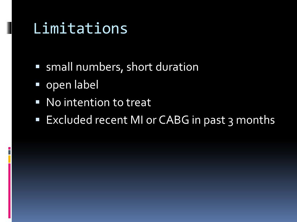 Limitations  small numbers, short duration  open label  No intention to treat  Excluded recent MI or CABG in past 3 months