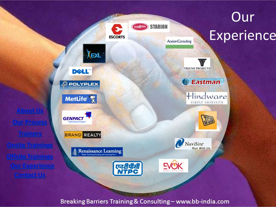 Our Experience Breaking Barriers Training & Consulting – www.bb-india.com