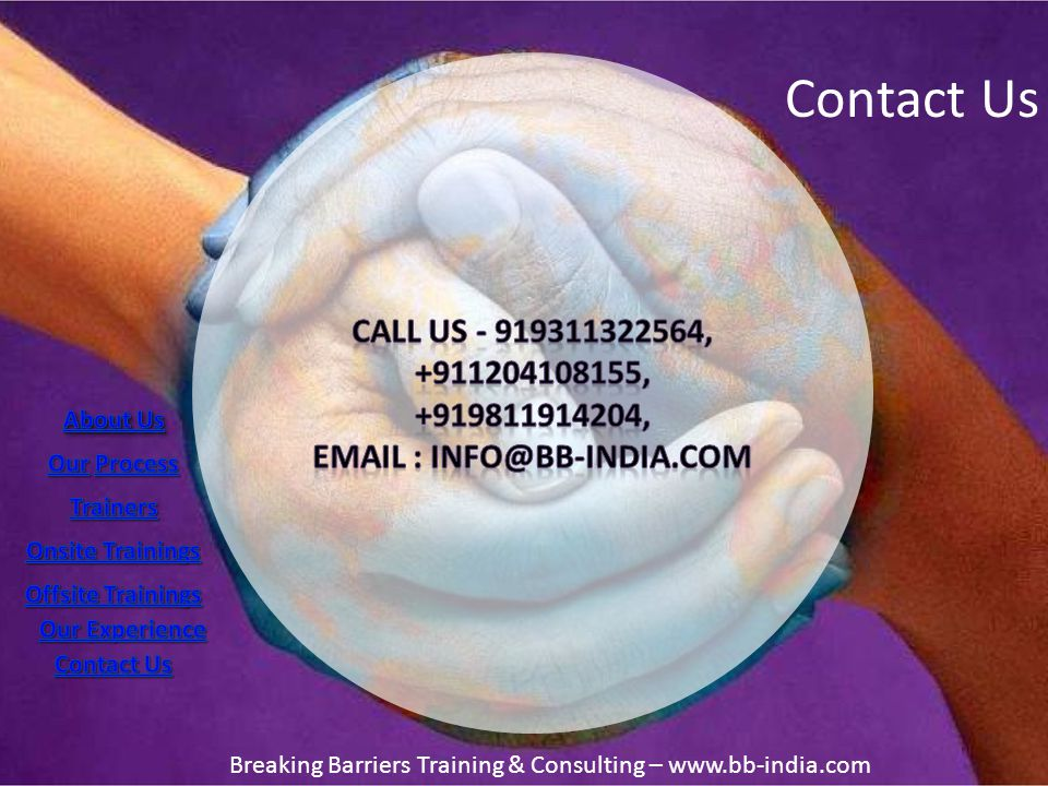 Contact Us Breaking Barriers Training & Consulting – www.bb-india.com