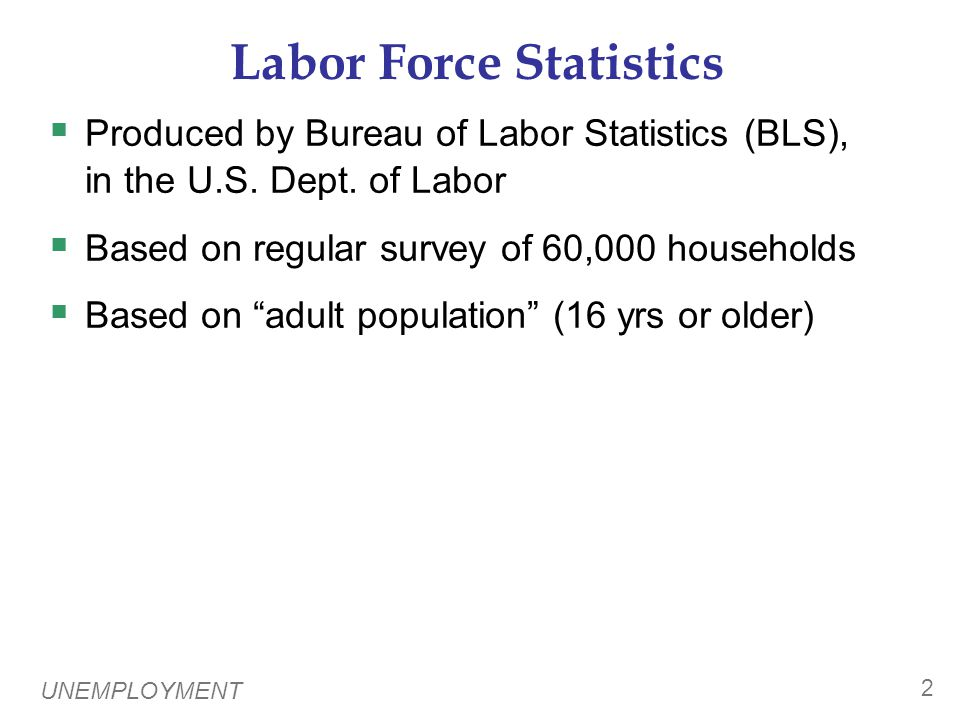 UNEMPLOYMENT 2 Labor Force Statistics  Produced by Bureau of Labor Statistics (BLS), in the U.S.