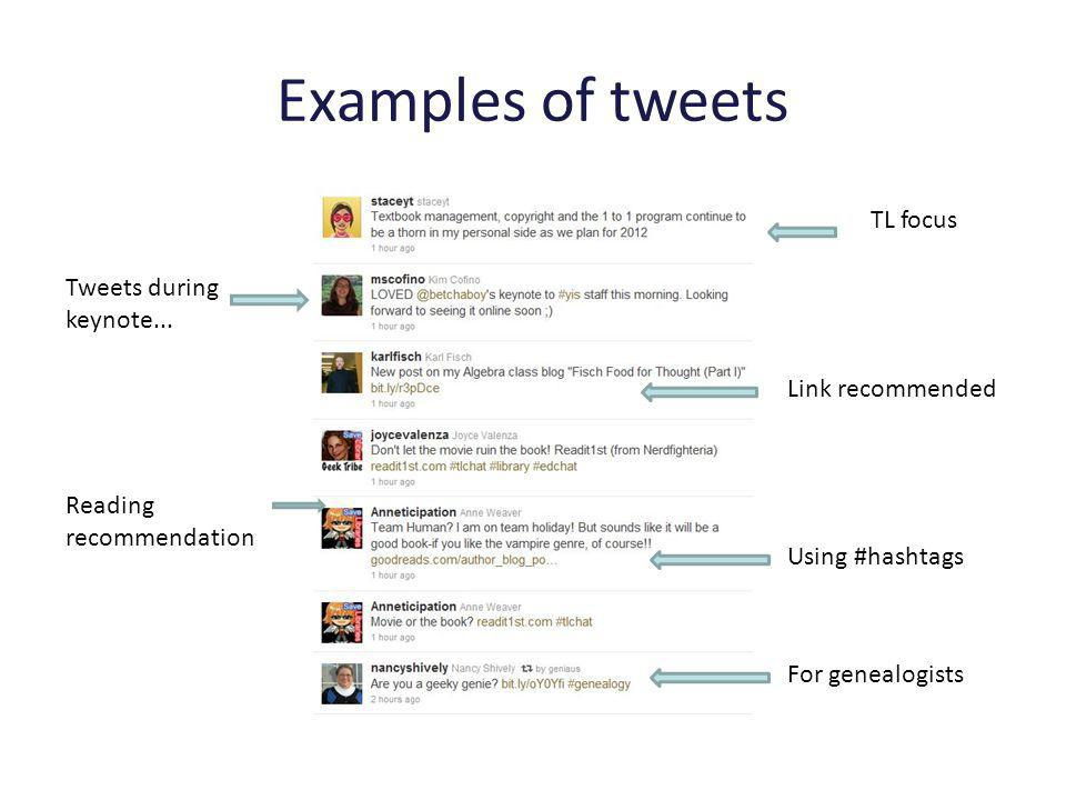 Examples of tweets TL focus Reading recommendation Link recommended For genealogists Tweets during keynote...