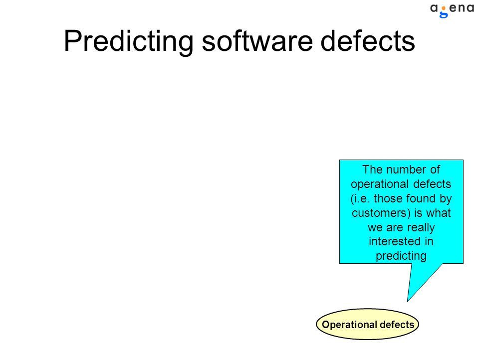 Predicting software defects Operational defects The number of operational defects (i.e.