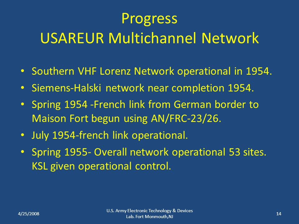 Progress USAREUR Multichannel Network Southern VHF Lorenz Network operational in 1954.