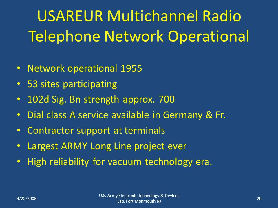 USAREUR Multichannel Radio Telephone Network Operational Network operational 1955 53 sites participating 102d Sig. Bn strength approx. 700 Dial class