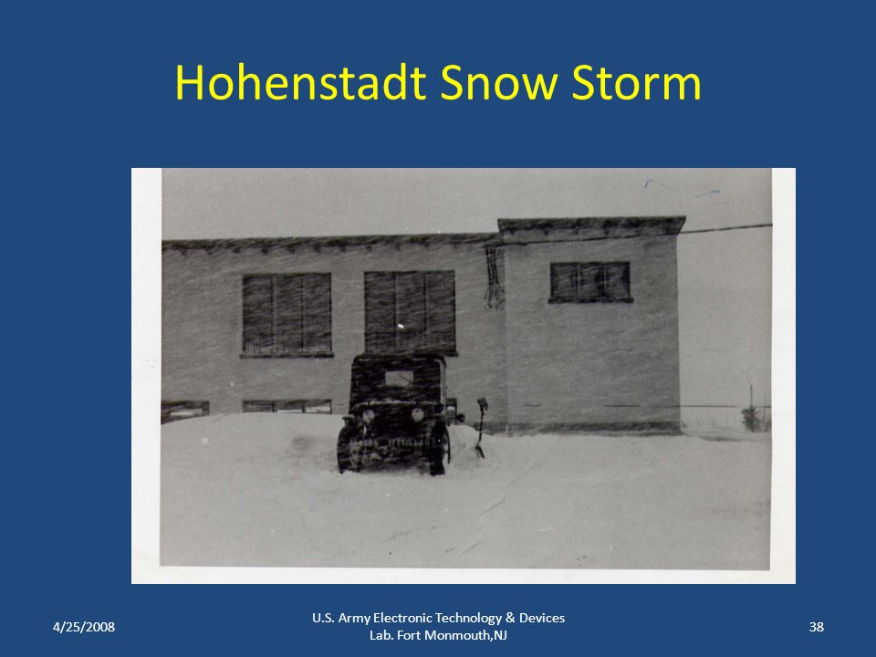Hohenstadt Snow Storm 4/25/2008 U.S. Army Electronic Technology & Devices Lab. Fort Monmouth,NJ 38