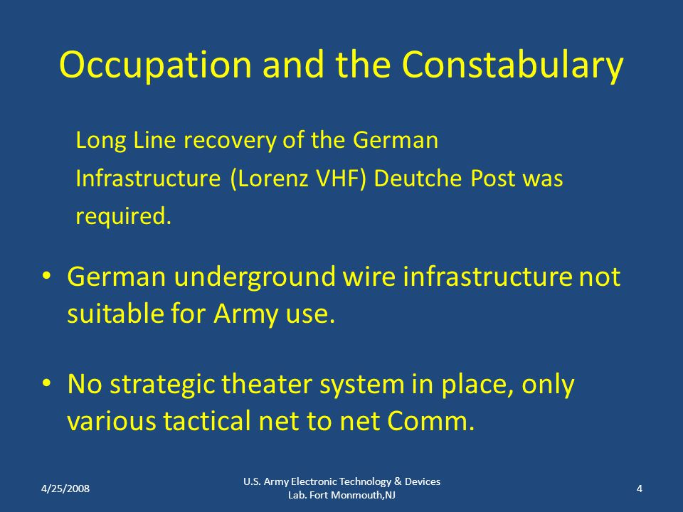 Occupation and the Constabulary Long Line recovery of the German Infrastructure (Lorenz VHF) Deutche Post was required.