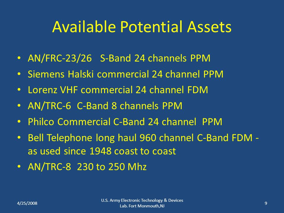 Available Potential Assets AN/FRC-23/26 S-Band 24 channels PPM Siemens Halski commercial 24 channel PPM Lorenz VHF commercial 24 channel FDM AN/TRC-6 C-Band 8 channels PPM Philco Commercial C-Band 24 channel PPM Bell Telephone long haul 960 channel C-Band FDM - as used since 1948 coast to coast AN/TRC-8 230 to 250 Mhz 4/25/20089 U.S.