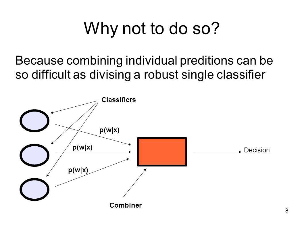 8 Why not to do so? Because combining individual preditions can be so difficult as divising a robust single classifier Decision Classifiers Combiner p